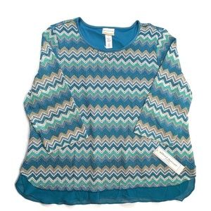 Alfred Dunner Zig-Zag Knit Top Size 2X